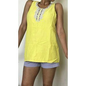 Vintage Yansi Fugel Linen Yellow Tunic Top/Dress